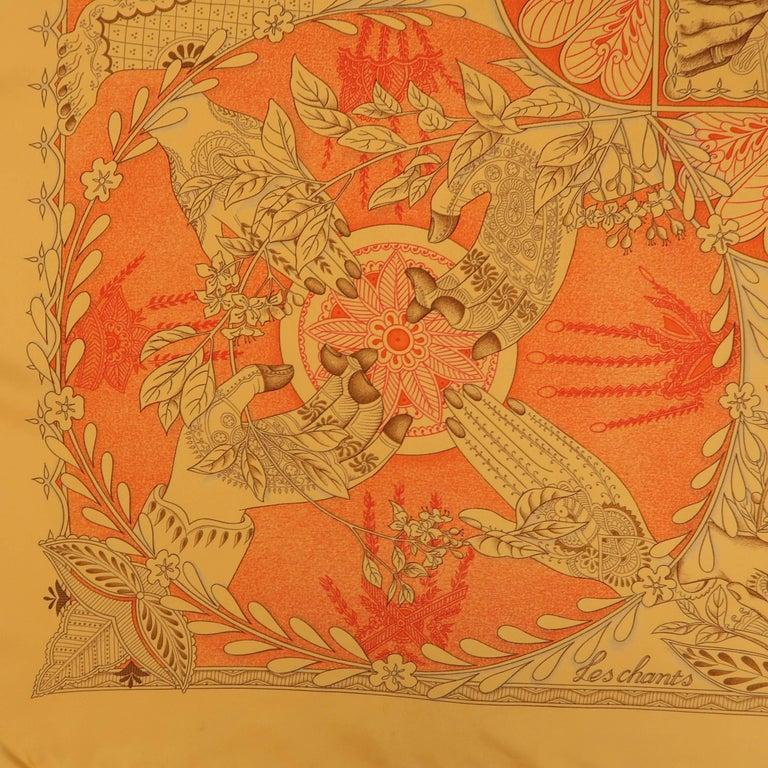 "Hermes Orange ""Les Chants du Henne"" Henna Artist Silk Scarf; 5"