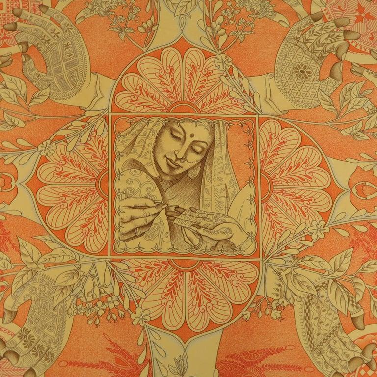"Hermes Orange ""Les Chants du Henne"" Henna Artist Silk Scarf; 6"