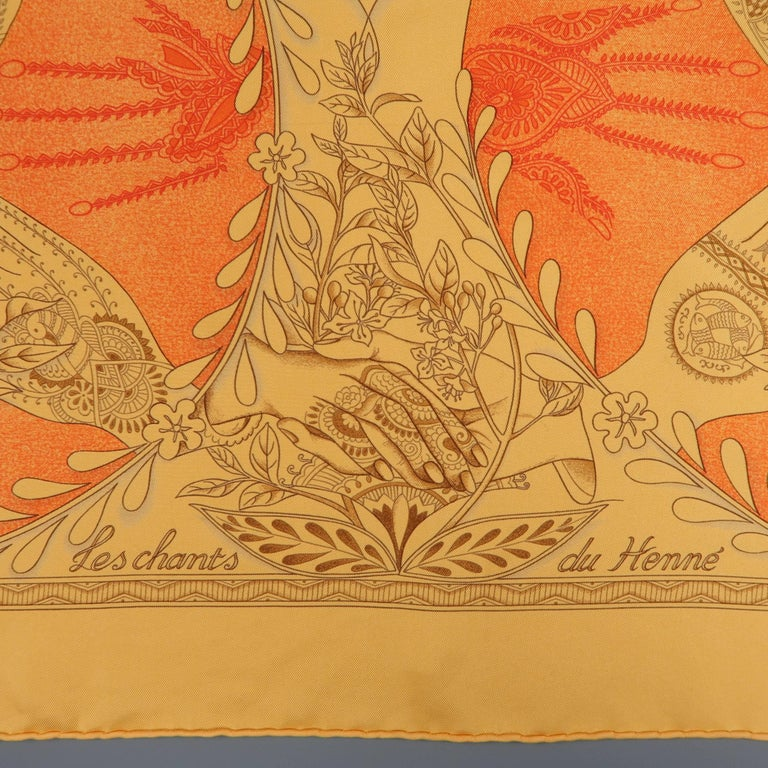 "HERMES ""Les Chants du Henne"" scarf comes in a light orange silk twill with beautiful henna tattoo artist motif. Tag removed. As-is. Made in France.   Good Pre-Owned Condition.   35 x 35 in.  SKU: 85531"