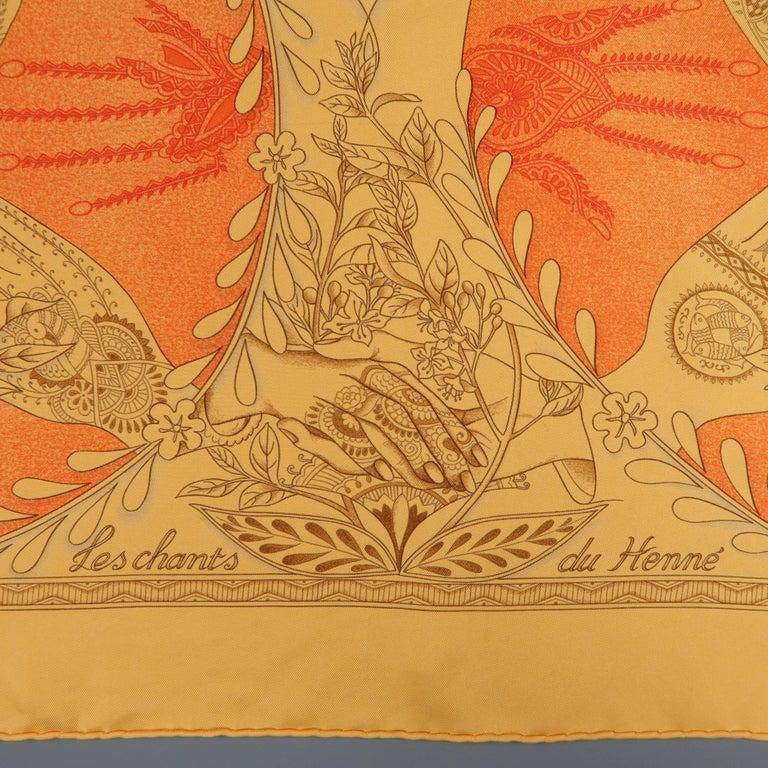 "Hermes Orange ""Les Chants du Henne"" Henna Artist Silk Scarf; 2"