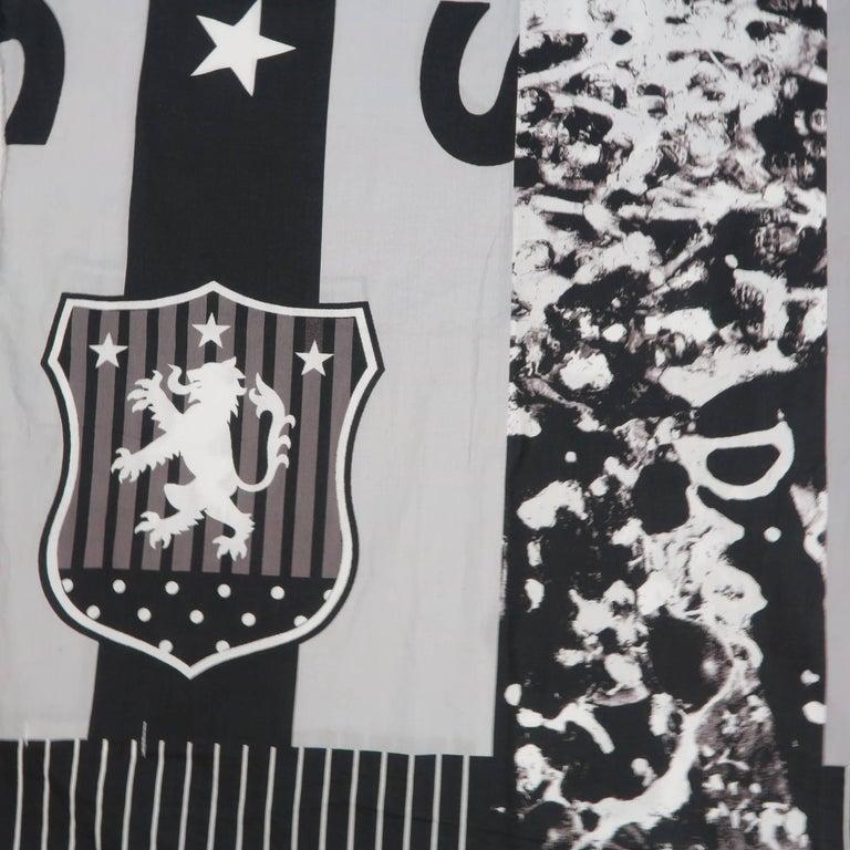 COMME des GARCONS BLACK Grey & Black Printed Cotton Blanket Scarf For Sale 1