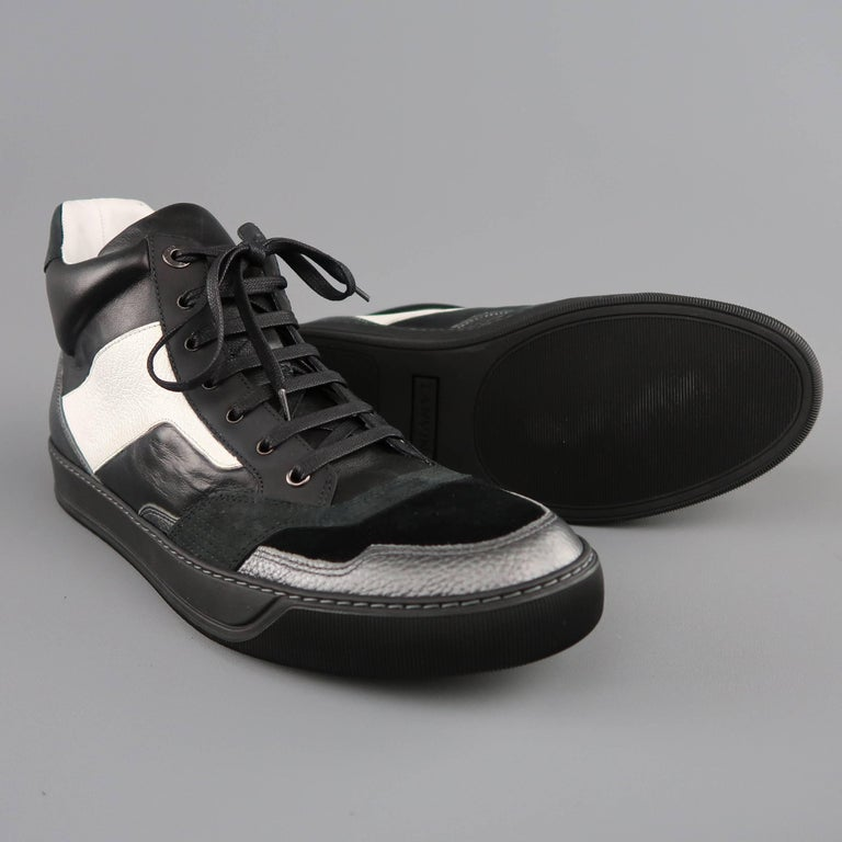 dbb62b84a9d Men's LANVIN Size 12 Black & White Two Toned Leather High Top Sneakers In  Excellent Condition