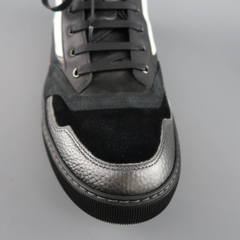 b2c754ee72b Men's LANVIN Size 12 Black & White Two Toned Leather High Top Sneakers For  Sale 1