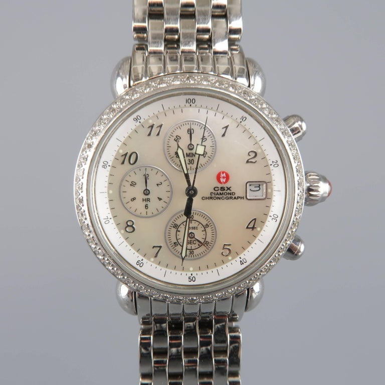 Michele Stainless Steel Silver Csx Diamond Chronograph Manual Wristwatch
