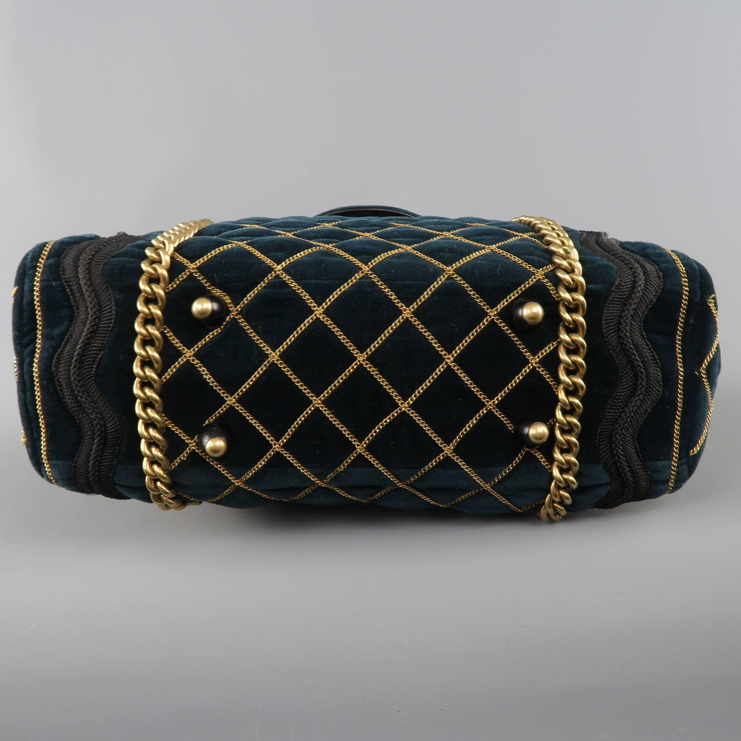 Yves Saint Laurent Green and Gold Chain Quilted Velvet Sac Luxembourg Bag  at 1stdibs b08863c032a85