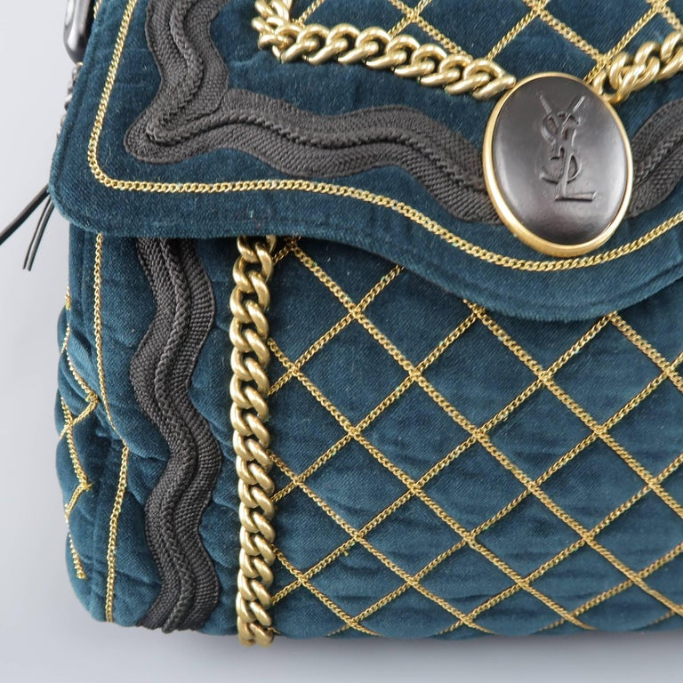 Black Yves Saint Laurent Green and Gold Chain Quilted Velvet Sac Luxembourg  Bag For Sale 05e6c7df12773
