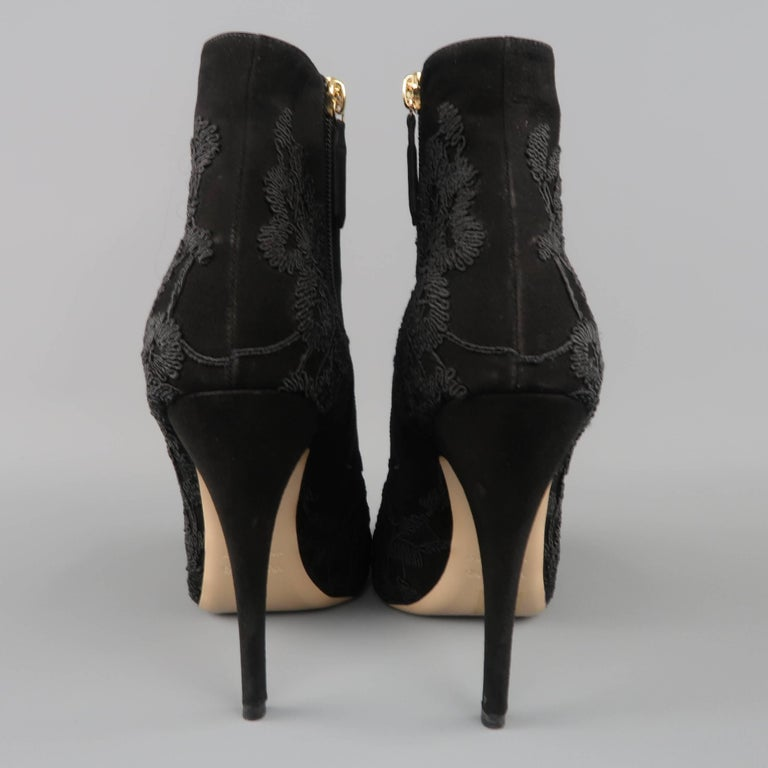 VALENTINO Size 8.5 Black Suede Lace Applique Platform Boots For Sale 1