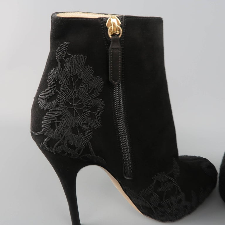 VALENTINO Size 8.5 Black Suede Lace Applique Platform Boots For Sale 3