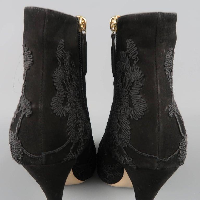 VALENTINO Size 8.5 Black Suede Lace Applique Platform Boots For Sale 2