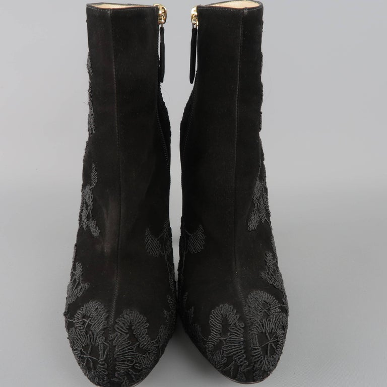 VALENTINO Size 8.5 Black Suede Lace Applique Platform Boots In Good Condition For Sale In San Francisco, CA