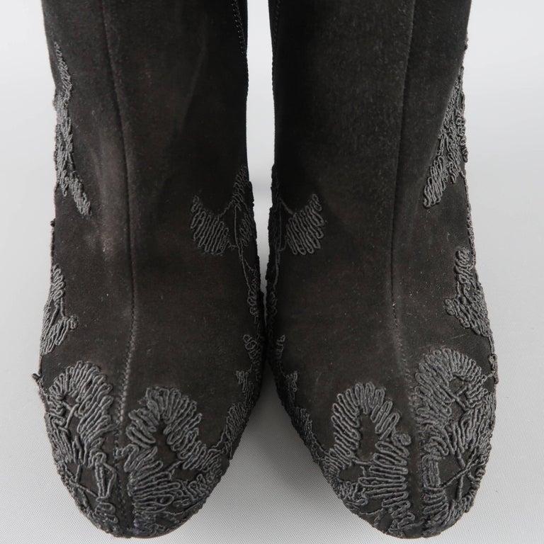 Women's VALENTINO Size 8.5 Black Suede Lace Applique Platform Boots For Sale