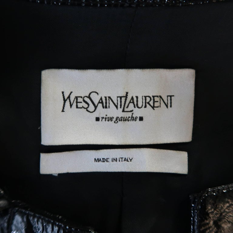 Yves Saint Laurent by Tom Ford Size 6 Black Vinyl Lace Up Safari Jacket For Sale 5