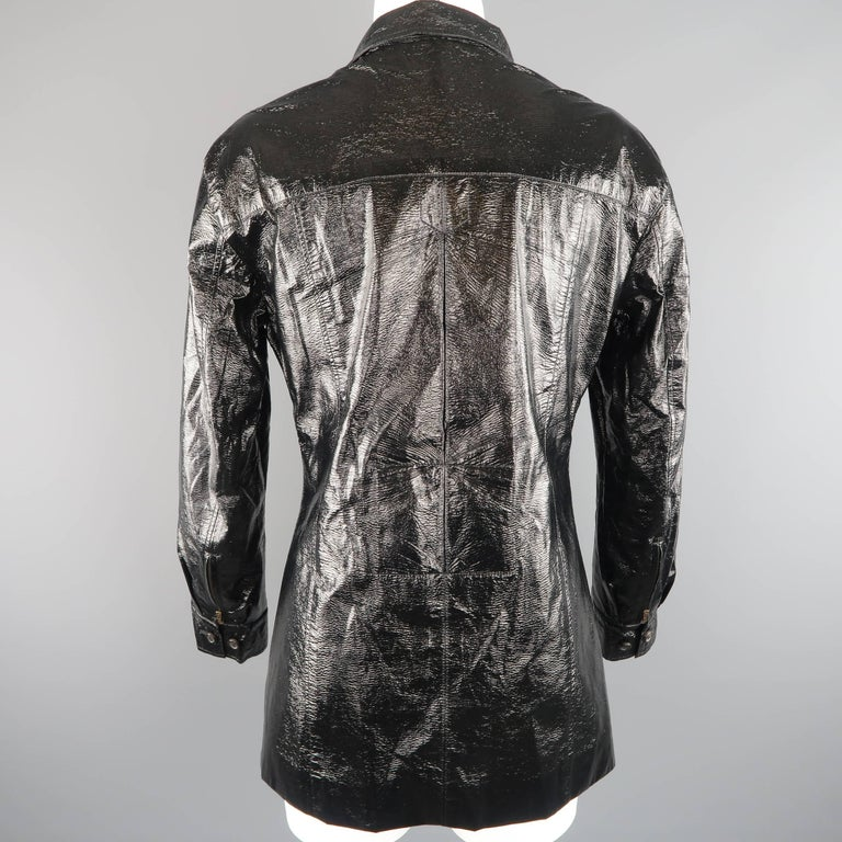 Yves Saint Laurent by Tom Ford Size 6 Black Vinyl Lace Up Safari Jacket For Sale 2