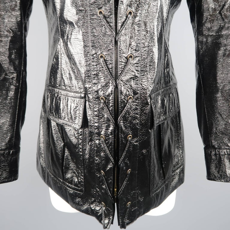 Women's or Men's Yves Saint Laurent by Tom Ford Size 6 Black Vinyl Lace Up Safari Jacket For Sale