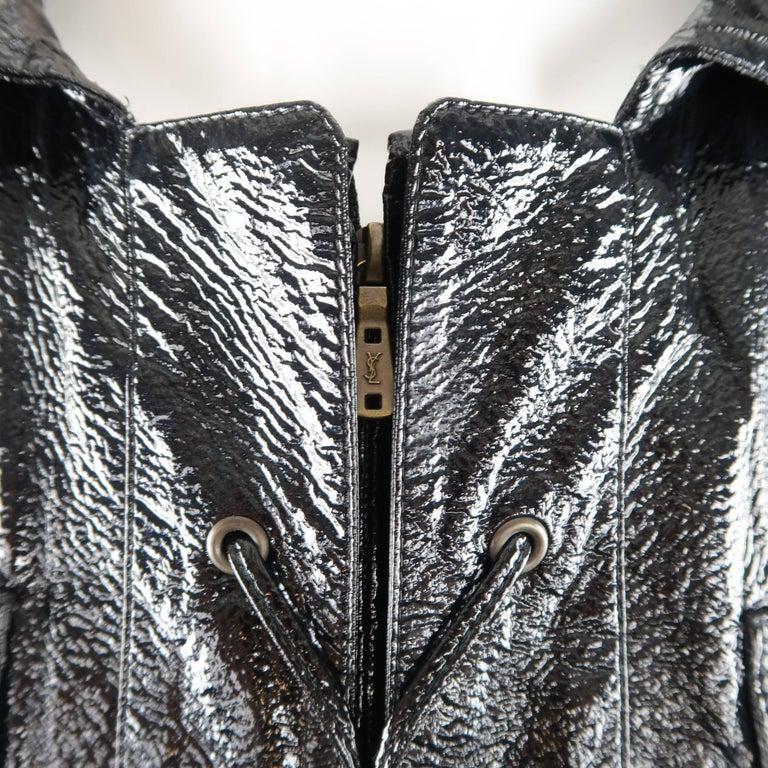Yves Saint Laurent by Tom Ford Size 6 Black Vinyl Lace Up Safari Jacket In Excellent Condition For Sale In San Francisco, CA