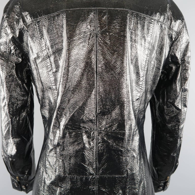 Yves Saint Laurent by Tom Ford Size 6 Black Vinyl Lace Up Safari Jacket For Sale 3