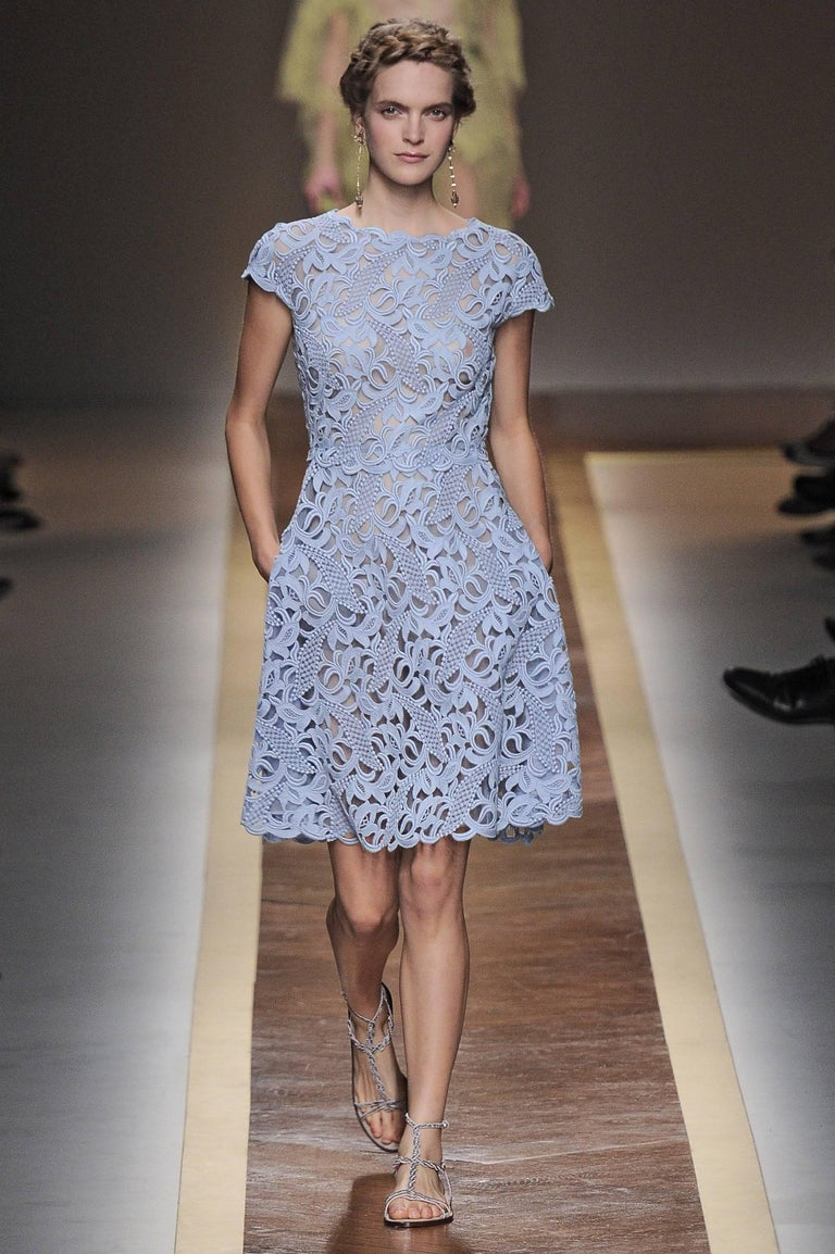 Valentino Shift Dress Comes In A Gorgeous Light Blue Lace With Sheer Lining And Features