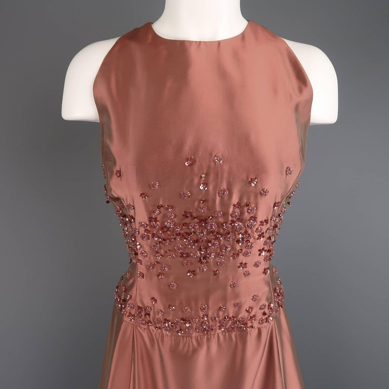 Badgley Mischka Size 10 Dusty Rose Silk Taffeta Beaded