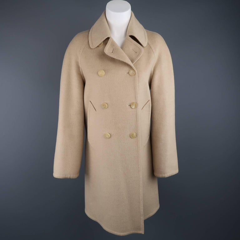 Hermes Vintage Beige Camel Hair Double Breasted Car Coat For Sale at ...