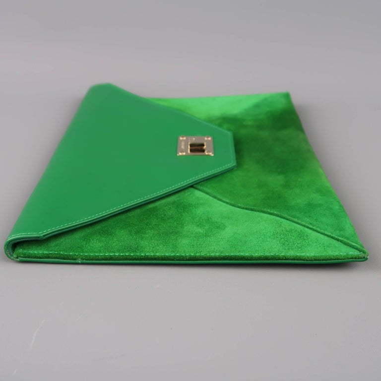 Jimmy Choo Green Leather and Suede Rosetta Envelope Clutch For Sale 1