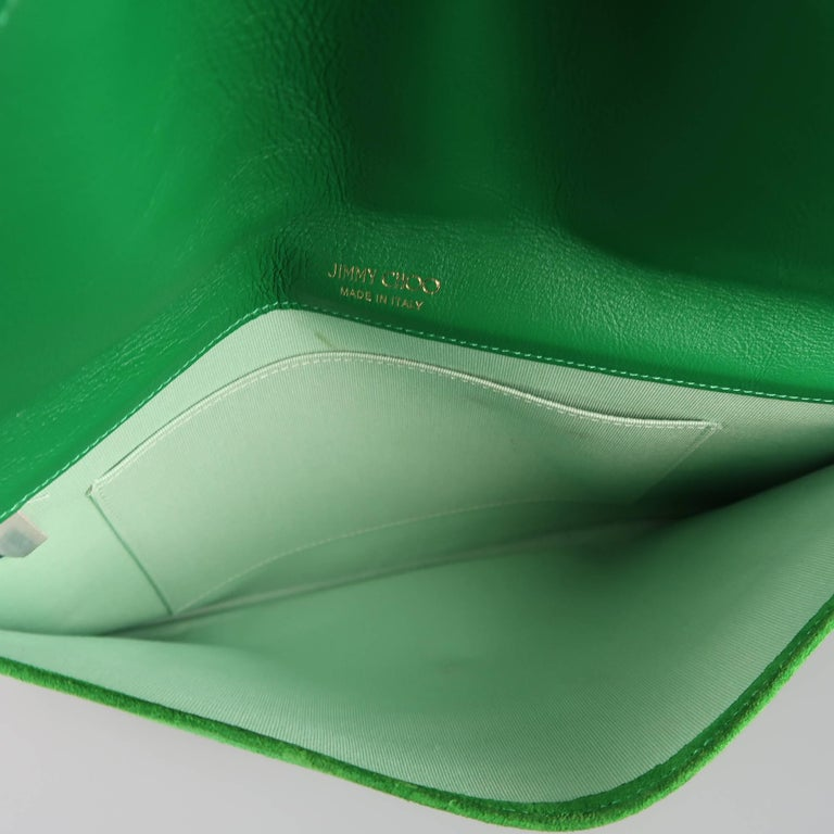 Jimmy Choo Green Leather and Suede Rosetta Envelope Clutch For Sale 5