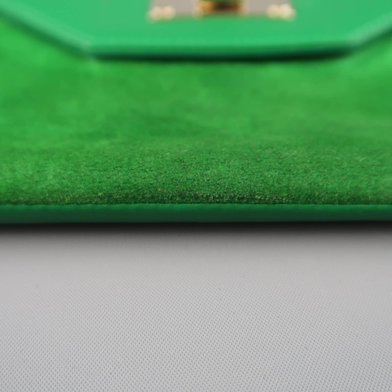 Jimmy Choo Green Leather and Suede Rosetta Envelope Clutch For Sale 2