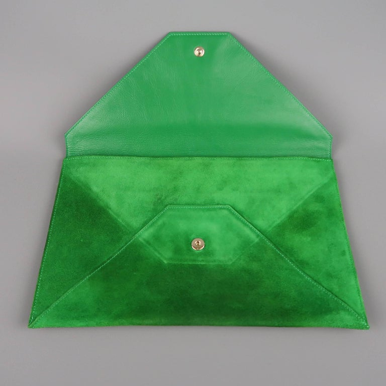 Jimmy Choo Green Leather and Suede Rosetta Envelope Clutch For Sale 4