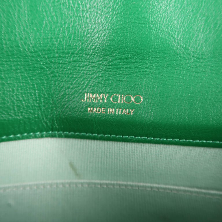 Jimmy Choo Green Leather and Suede Rosetta Envelope Clutch For Sale 6