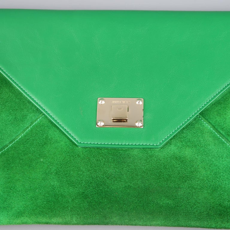 Jimmy Choo Green Leather and Suede Rosetta Envelope Clutch In Good Condition For Sale In San Francisco, CA