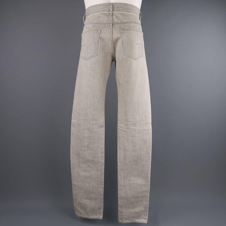 DIOR HOMME Size 30 Light Grey Solid Selvedge Denim Skinny Jeans For Sale 2