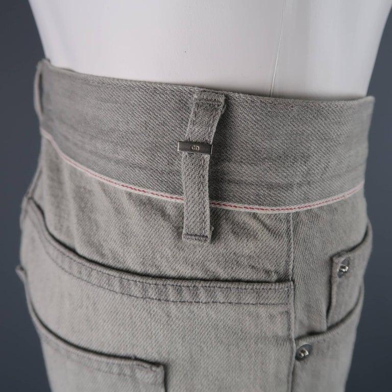 DIOR HOMME Size 30 Light Grey Solid Selvedge Denim Skinny Jeans For Sale 1