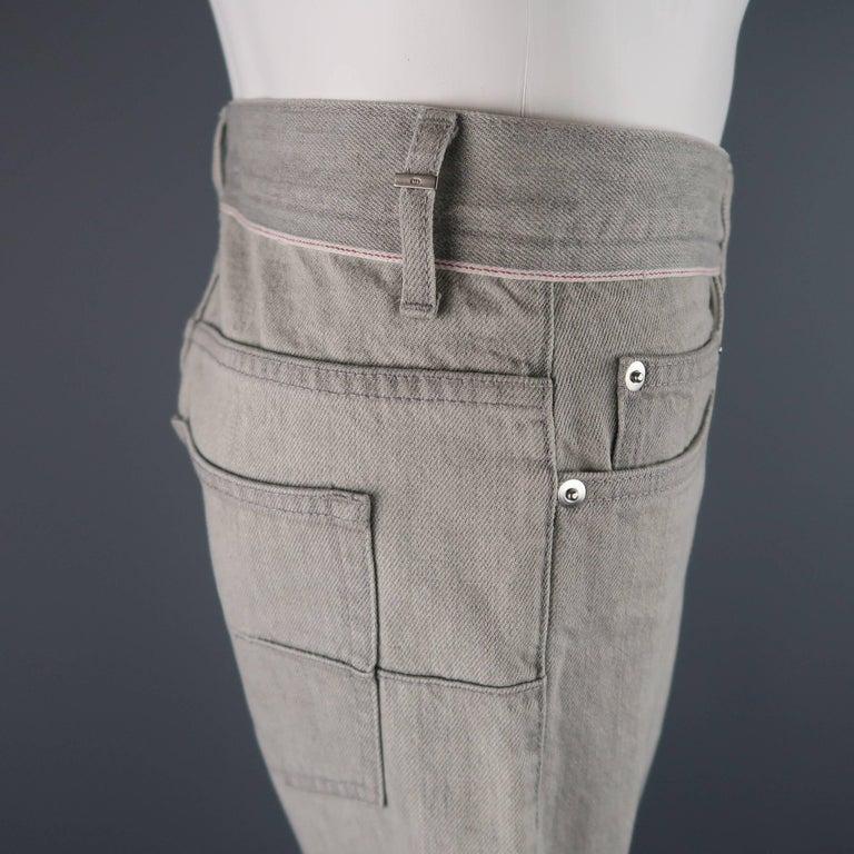 Men's DIOR HOMME Size 30 Light Grey Solid Selvedge Denim Skinny Jeans For Sale