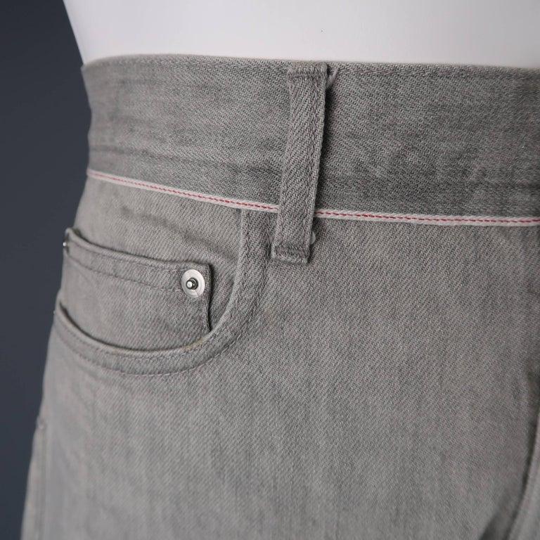 Gray DIOR HOMME Size 30 Light Grey Solid Selvedge Denim Skinny Jeans For Sale