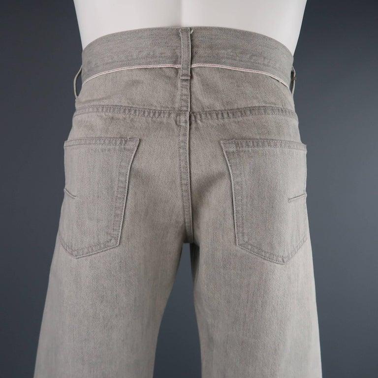 DIOR HOMME Size 30 Light Grey Solid Selvedge Denim Skinny Jeans For Sale 3