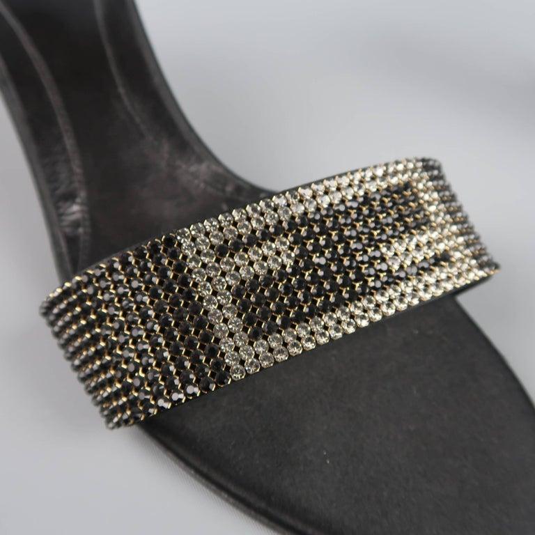 Fendi Size 9 5 Black Silk Rhinestone Logo Strap Kitten