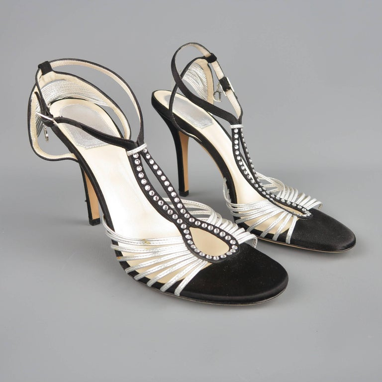 Beige CHRISTIAN DIOR Size 9.5 Black & Silver Silk & Leather Rhinestone T Strap Sandals For Sale