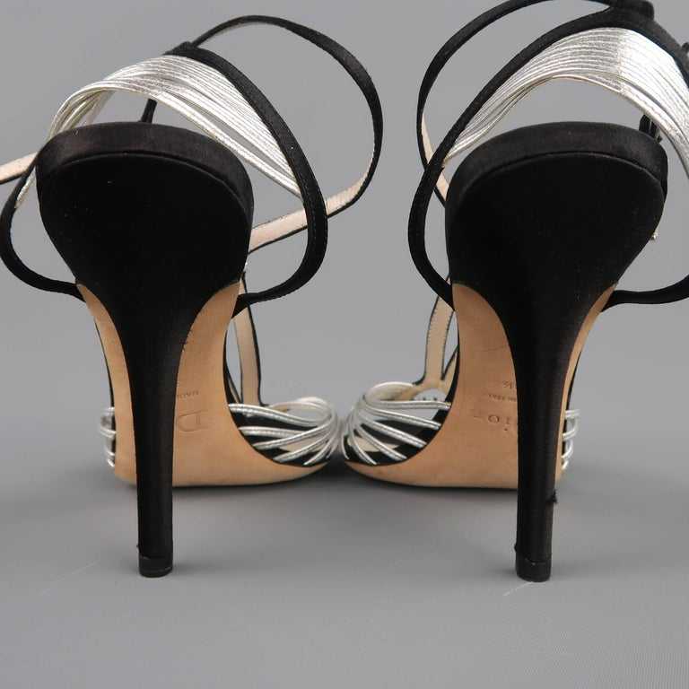 CHRISTIAN DIOR Size 9.5 Black & Silver Silk & Leather Rhinestone T Strap Sandals For Sale 2