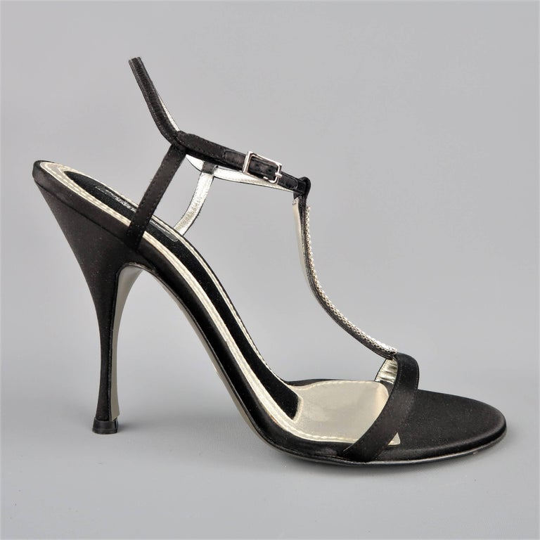 DOLCE & GABBANA 10 Black Silk & Leather Rhinestone T Strap Ankle Harness Sandals In Good Condition For Sale In San Francisco, CA