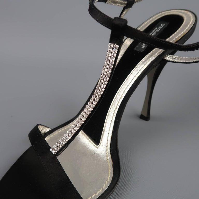 Women's DOLCE & GABBANA 10 Black Silk & Leather Rhinestone T Strap Ankle Harness Sandals For Sale