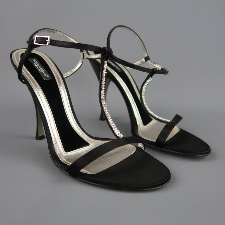 DOLCE & GABBANA 10 Black Silk & Leather Rhinestone T Strap Ankle Harness Sandals For Sale 2