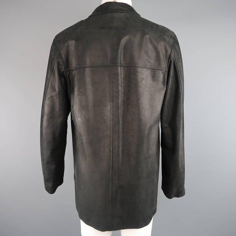 Men's AGNES B. HOMME 40 Black Textured Leather Zip Car Coat 3
