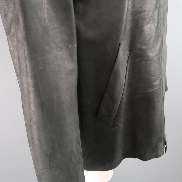 Men's AGNES B. HOMME 40 Black Textured Leather Zip Car Coat 1
