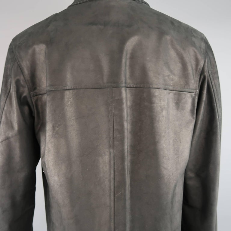 Men's AGNES B. HOMME 40 Black Textured Leather Zip Car Coat 2