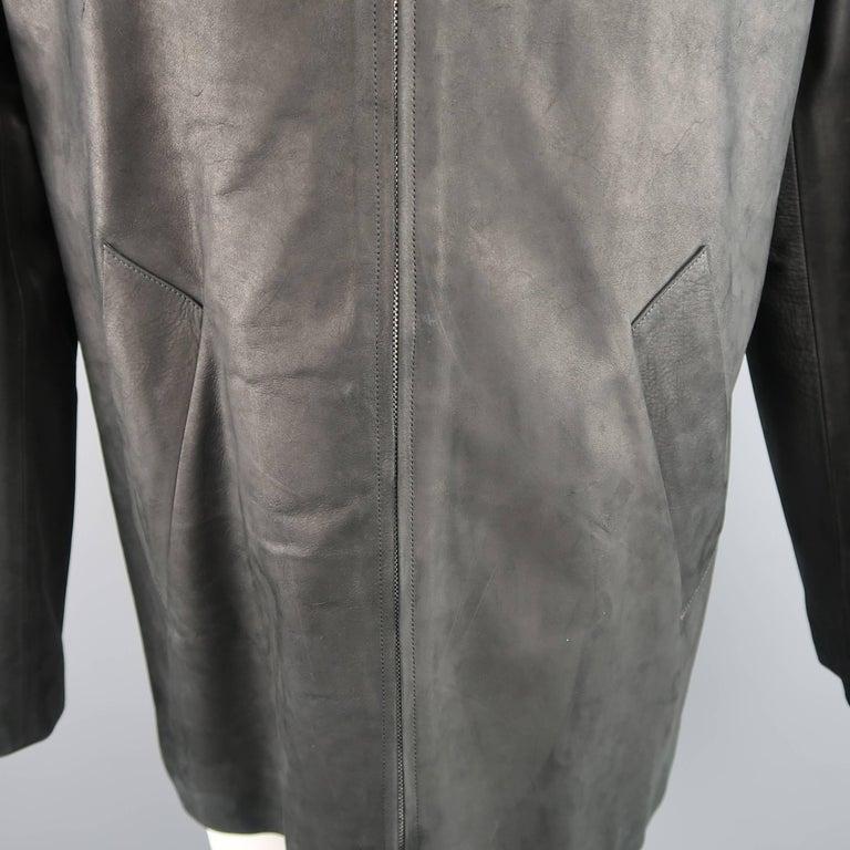 Men's AGNES B. HOMME 40 Black Textured Leather Zip Car Coat In Excellent Condition In San Francisco, CA