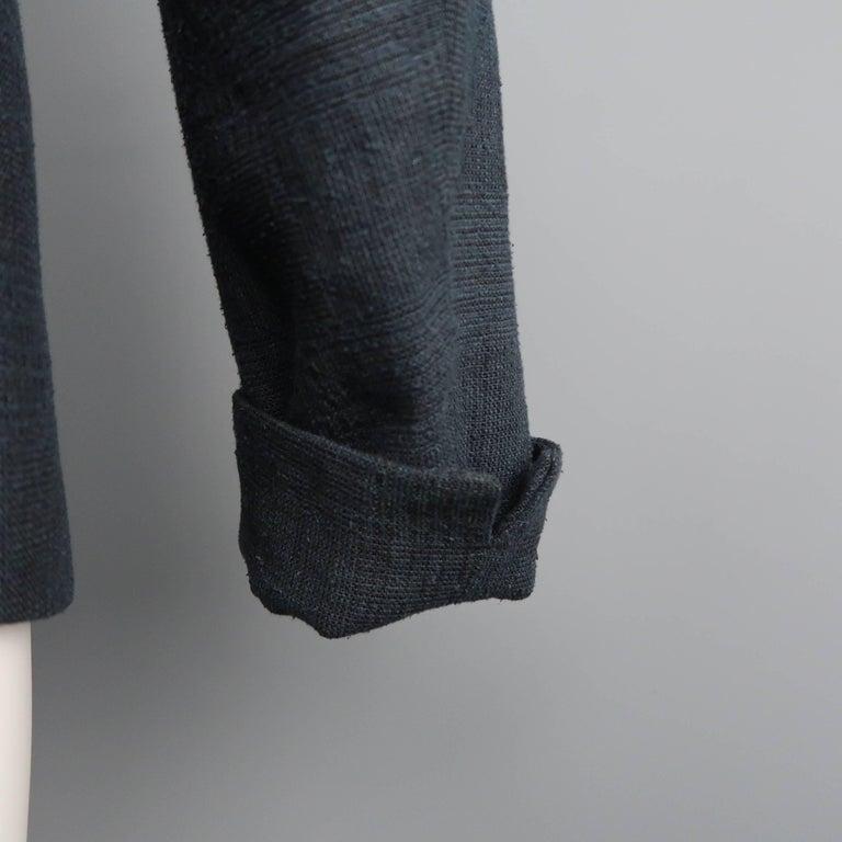Men's THE VIRIDI-ANNE 42 Navy Plaid Silk / Linen 4 Button Sport Coat Jacket For Sale 1