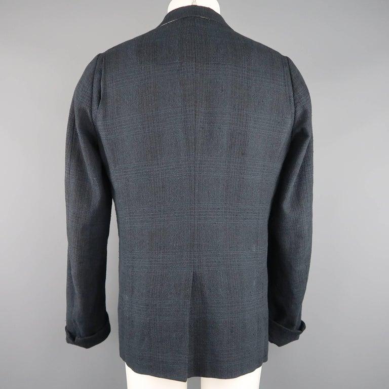Men's THE VIRIDI-ANNE 42 Navy Plaid Silk / Linen 4 Button Sport Coat Jacket For Sale 2