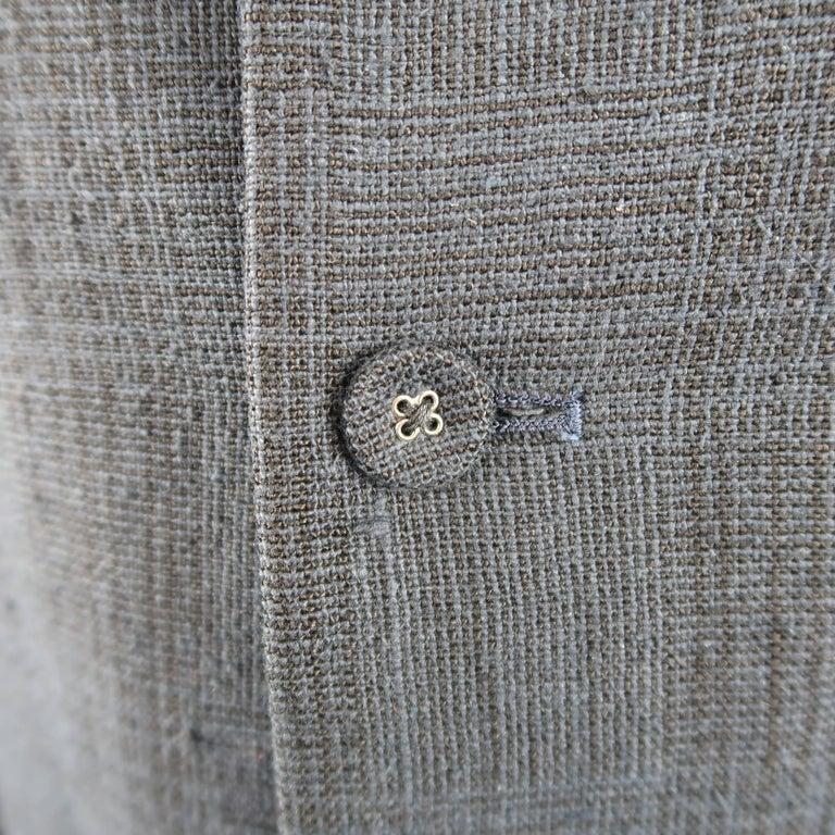 Black Men's THE VIRIDI-ANNE 42 Navy Plaid Silk / Linen 4 Button Sport Coat Jacket For Sale