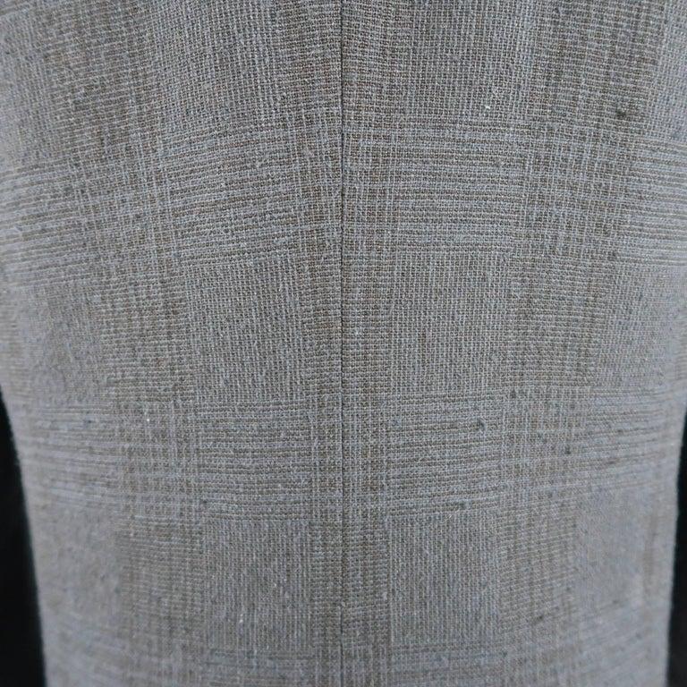 Men's THE VIRIDI-ANNE 42 Navy Plaid Silk / Linen 4 Button Sport Coat Jacket For Sale 3
