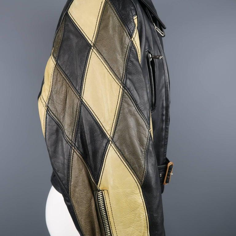 JEAN PAUL GAULTIER 42 Black & Beige Leather Harlequin Sleeve Biker Jacket For Sale 2