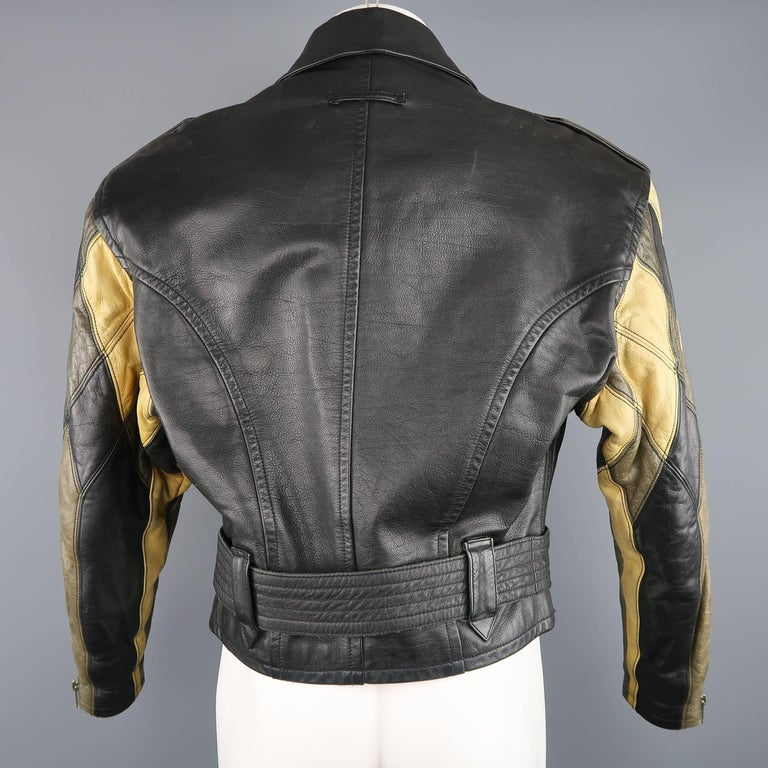 JEAN PAUL GAULTIER 42 Black & Beige Leather Harlequin Sleeve Biker Jacket For Sale 4